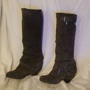 Naughty Monkey  Gray Leather Boots size 7.5